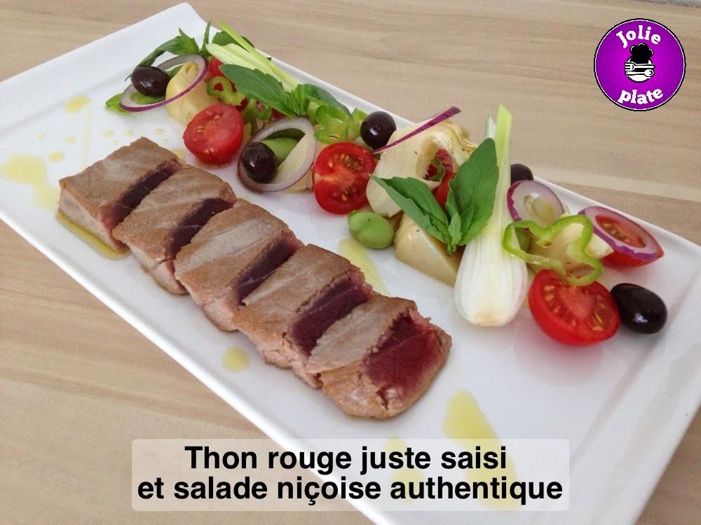 Jolie plate thon rouge juste saisi et salade ni oise authentique - Comment cuisiner le thon rouge frais ...