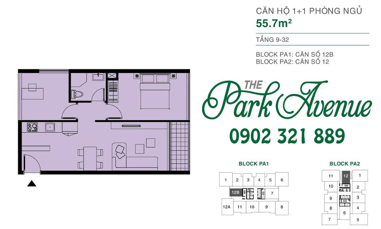 THE PARK AVENUE Mặt bằng căn hộ 1 PN - 55.7m²