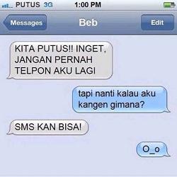 DP Lucu, SMS Minta Putus
