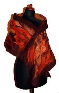 szal filcowany w kolorach jesieni