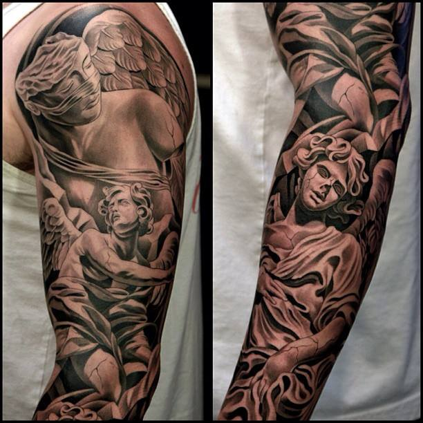 Angel with wings tattoo on sleeve