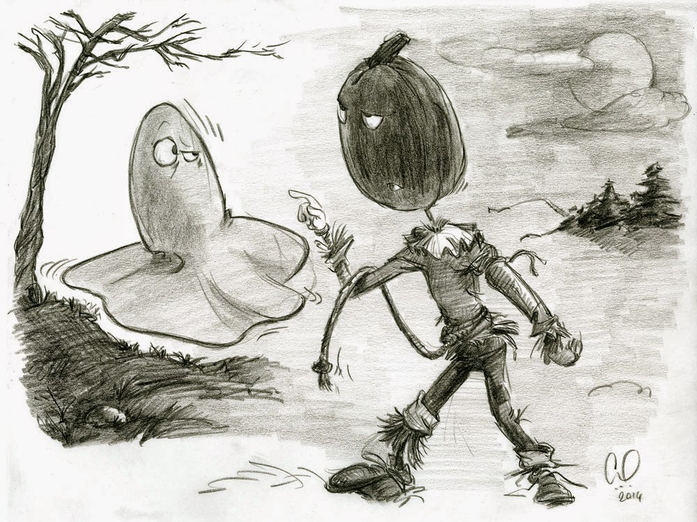 Halloween - Pumpkin Head and Ghost having a stand off - illustration drawing in pencil by Cesare Asaro - Creative Director at Curio & Co. (Curio and Co. - www.curioanco.com)