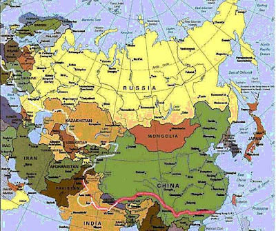 Map of Eurasia Countries Region