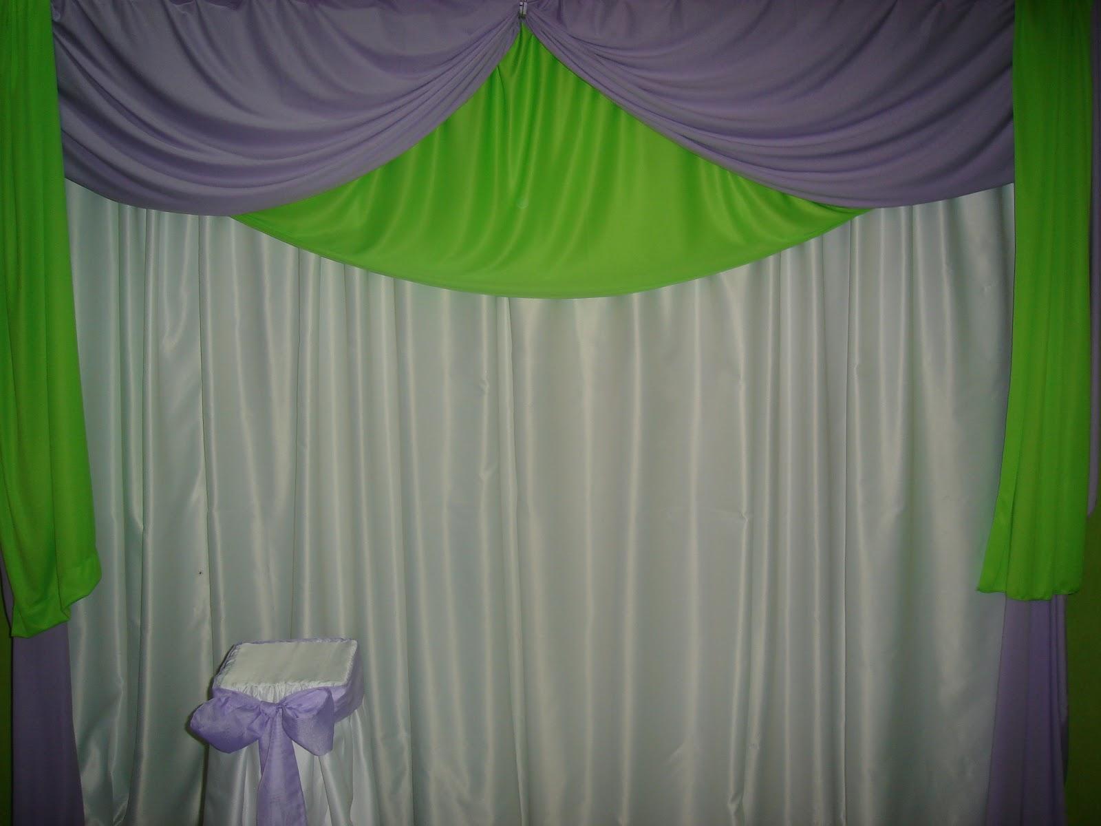 Neon decora es cortina em verde e lil s for Cortina verde agua