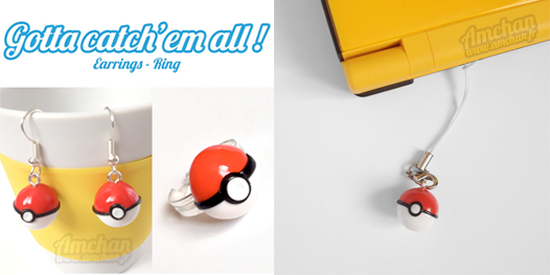 Pokeball jewelry, charm, strap, earring and ring