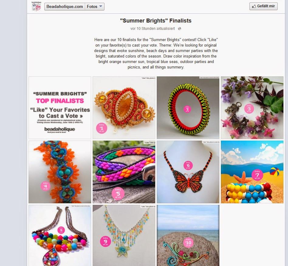 PrettyNett.de is finalist on the Summer Brights design contest of Beadaholique