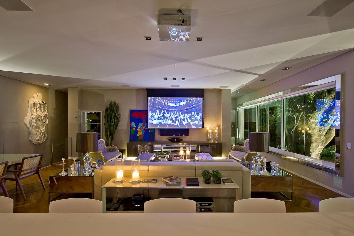 Cozinha E Salas Estar/jantar Integradas Com Decoração Neutra E ~ Decoracao Cozinha Sala Integrada