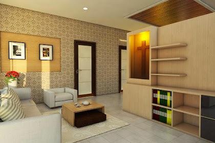 Desain 3D Ruang Tamu Penyekat Ruangan Keluarga sesuai Denah Gambar CAD 2D