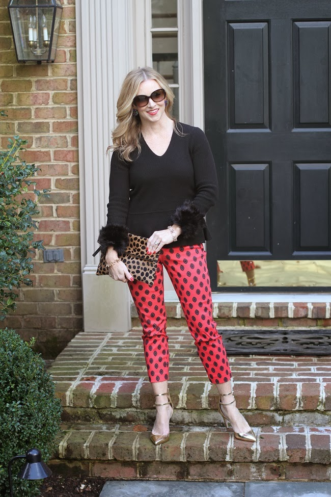 brunch with Santa, holiday outfit, metallic pumps, red pants,