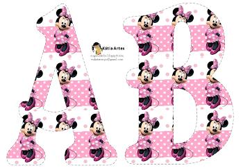 Alfabeto de Minnie en fondo con lunares blancos y rosa.