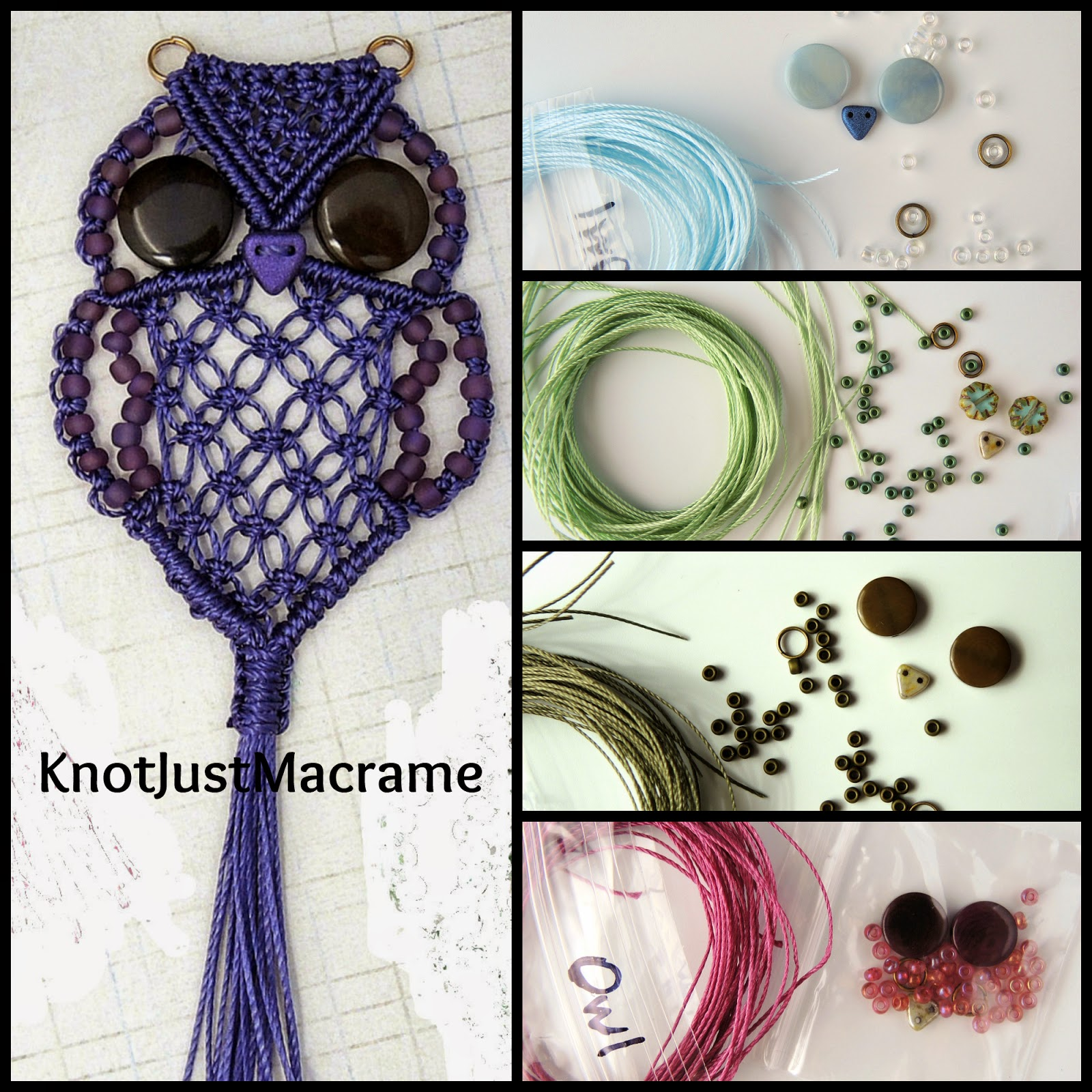Micro macrame owl tutorial and kits by Knot Just Macrame
