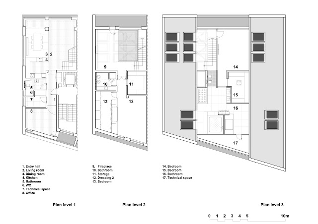 Floor plans of the all three floors of the attic apartment
