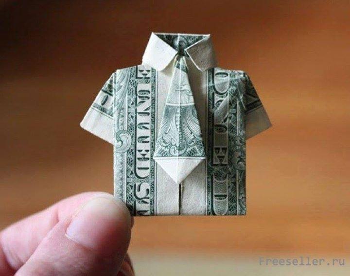 Origami Dollar bentuk kemeja