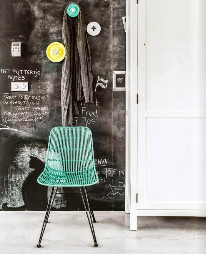 colorful hooks + chair  from HK Living