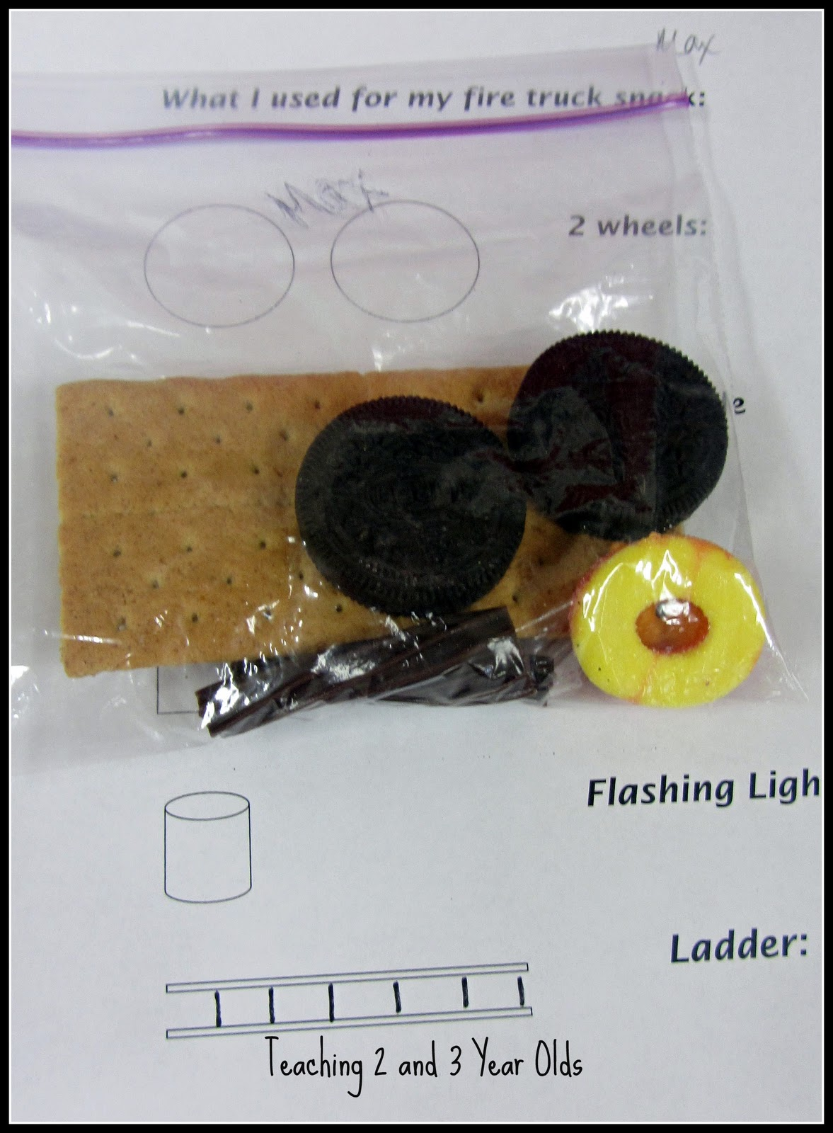 Fire Truck Snack for Preschool http://teaching2and3yearolds.blogspot.com/2012/02/fire-truck-snack.html