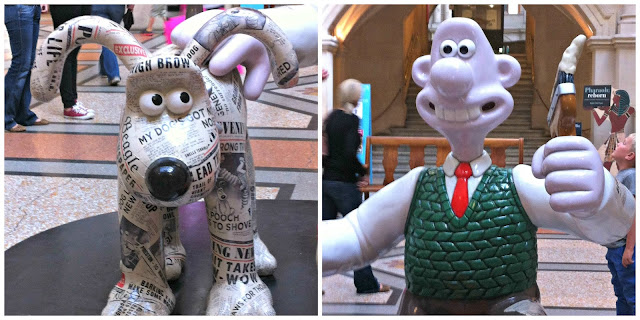 Close-up pictures of Wallace and Gromit from the Newshound statue