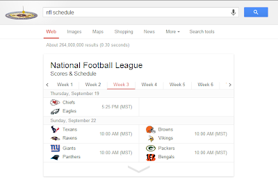 Google NFL Schedule and Scores