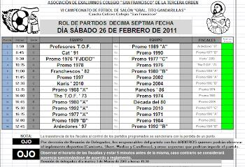 FECHA DE PARTIDOS DEL 26 DE FEBRERO