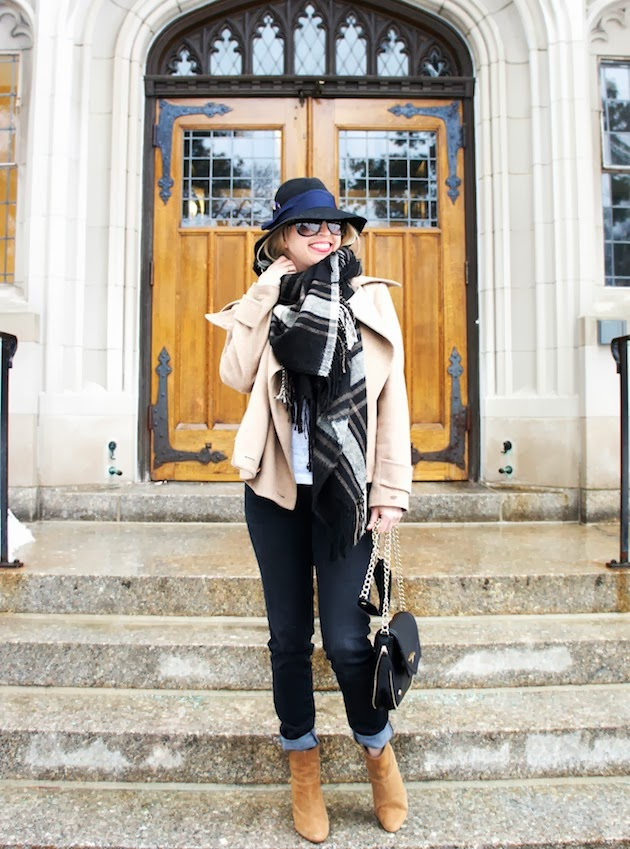 blue plaid scarf, fedora, camel coat, the blues jean bar express