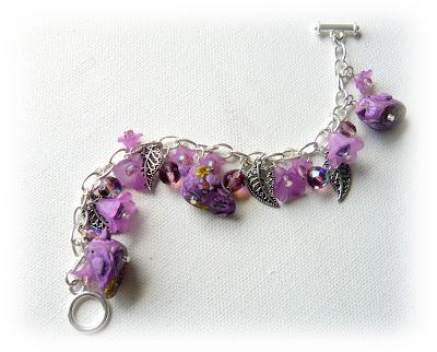 Lilac Millefiori Bird Charm Bracelets