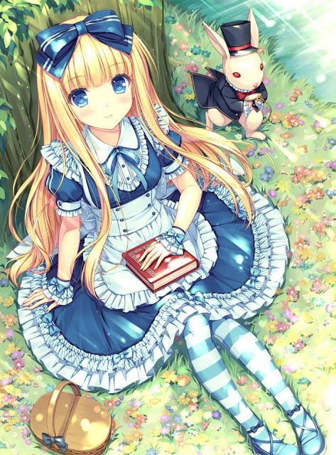 alice in wonderland,anime girl,sayori