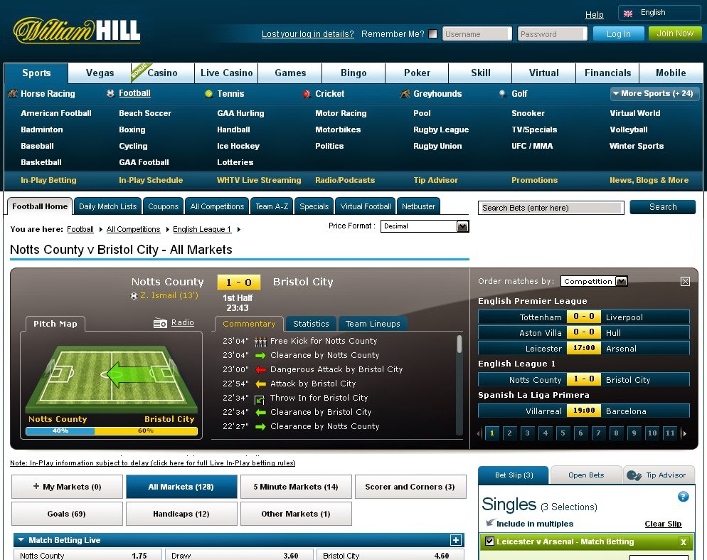 William Hill Live Betting Screen