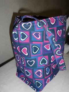 hearts, squares, tote, purple, bag