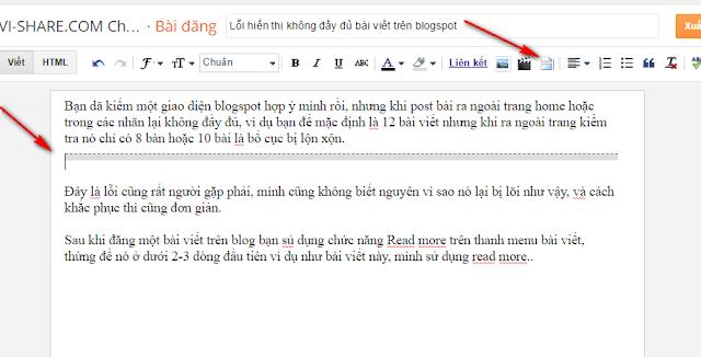 Lỗi hiển thị không đầy đủ bài viết trên blogspot