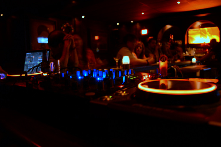 Jolt Radio DJ soundboard with neon lights at Fox's Lounge in South Miami