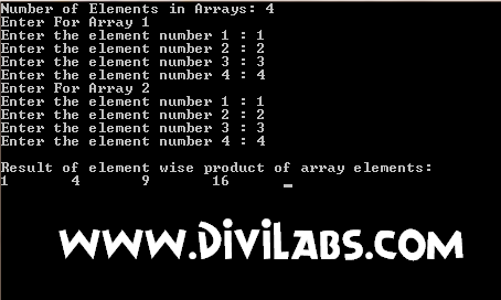 Output of C / C++ Program to calculate element wise product of 2 arrays : element wise multiplication