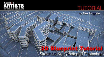 Sketchupartists 3d blueprint tutorial sketchup kerkythea and alex experiments with a simple and clean blueprint style that maintains some of the great qualities of blueprint drawings but also gives the appearance of malvernweather Gallery