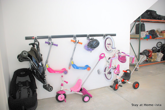 Organized kid bicycle storage