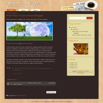 Morning Coffee Blogger Template. blogger template from wordpress theme