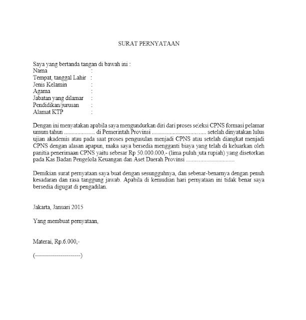 Contoh Surat Pernyataan Tidak Mengundurkan Diri Terbaru