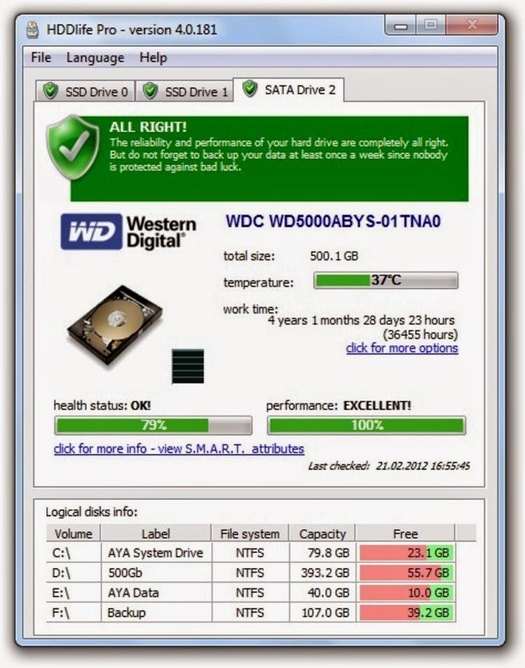 HDDlife Pro Notebooks 4.0.0.199 Full,kiểm tra sức khỏe ổ cứng của bạn,Bác sĩ của HDD