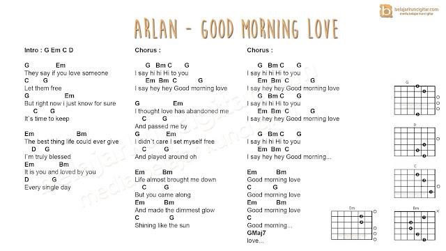 belajar kunci gitar arlan good morning love