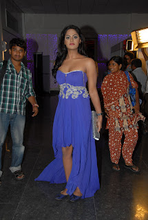 Karthika Nair in a lovely Blue Shoulder Less Gown Deep Neck Cut Spicy Beauty