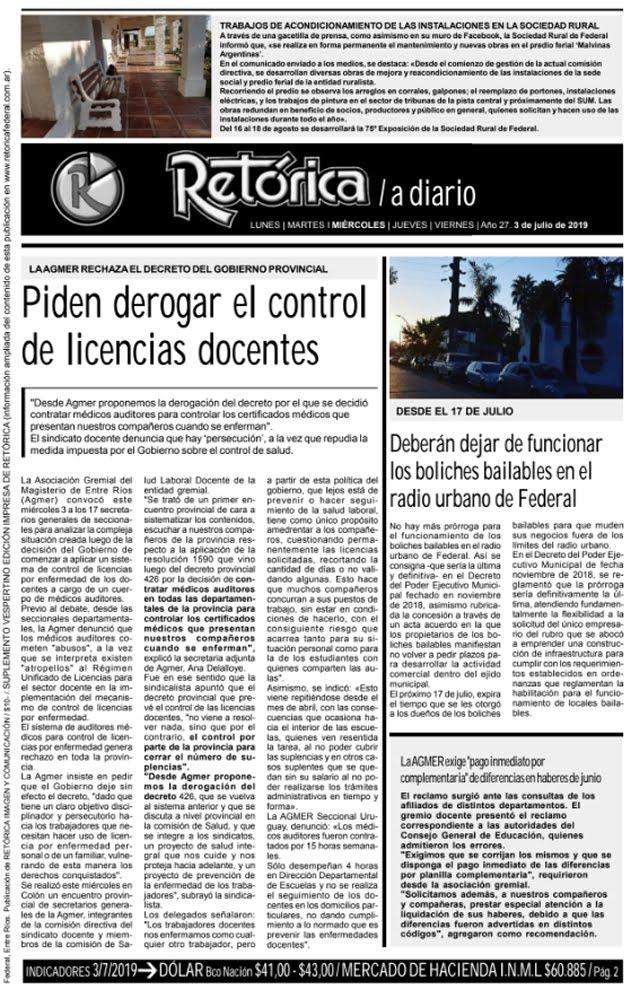 RETÓRICA 3/7/2019 EDICIÓN IMPRESA