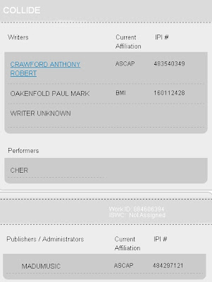 'Collide' on the 'ASCAP' website