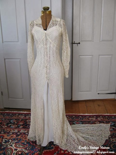 Vintage Lace Slip Wedding Dress