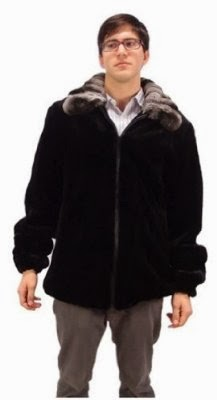 Bergama Mens Semi-Sheared Mink Jacket with Natural Chinchilla Collar - 48 - Black