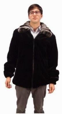 Bergama Mens Semi-Sheared Mink Jacket with Natural Chinchilla Collar - 48 - Black