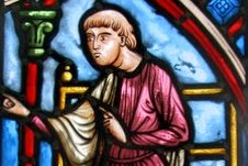 Copy of XIIIth century stained-glass panel : the monk Theophilus