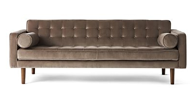 Jonathan Adler velvet retro sofa for JCP