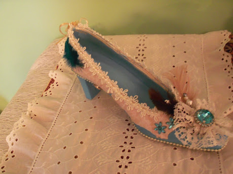 Teal Blue Shabby Chic Altered Shoe