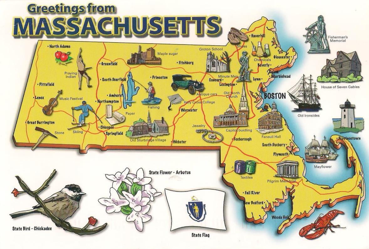 More POSTCARDS STAMPS USA Map Massachusetts - Massachusetts in us map
