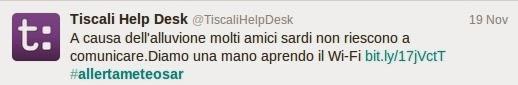 tweet di Tiscali del 19 Novembre 2013 #allertameteoSAR