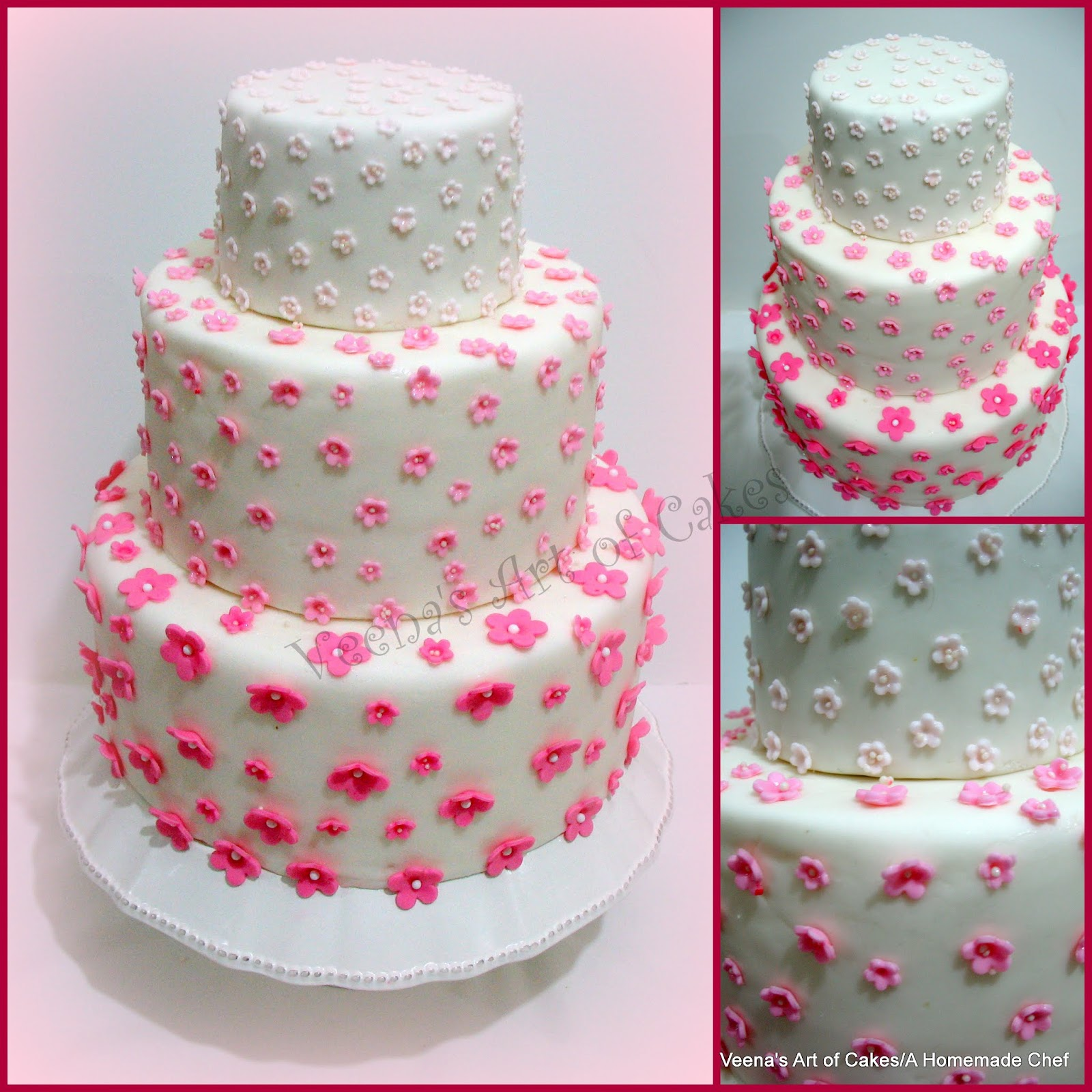 Veena\'s Art of Cakes: Three Wedding Cakes - Scalloped Lace, Ombre ...