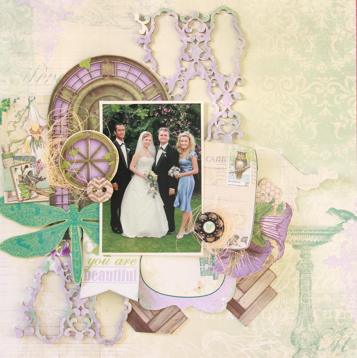 BridesMaid Scrapbook Page by Evgenia Petzer uisng BoBunny Enchanted Garden Collection