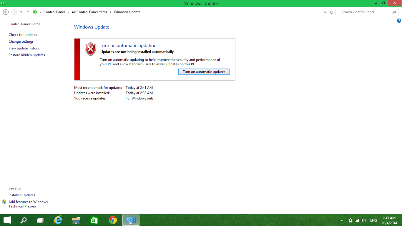 how to turn on automatic updates windowws 10